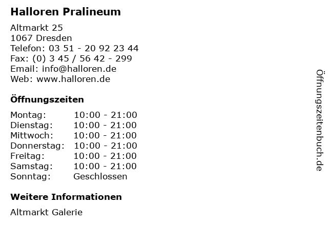 Halloren Pralineum in Dresden: Adresse und Öffnungszeiten