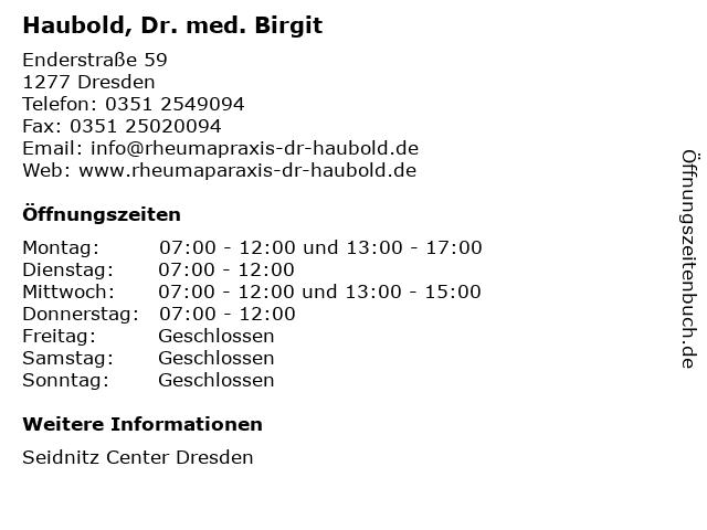 Haubold, Dr. med. Birgit in Dresden: Adresse und Öffnungszeiten