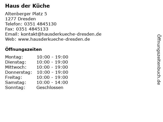 ᐅ Offnungszeiten Haus Der Kuche Altenberger Platz 5 In Dresden