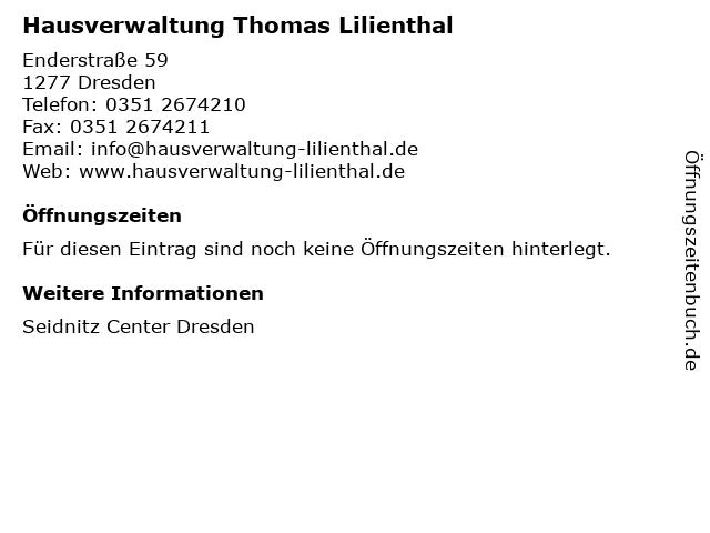 Hausverwaltung Thomas Lilienthal in Dresden: Adresse und Öffnungszeiten