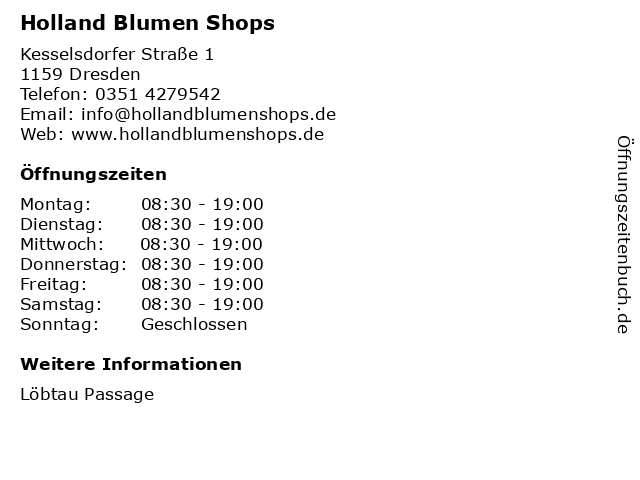 Holland Blumen Shops in Dresden: Adresse und Öffnungszeiten