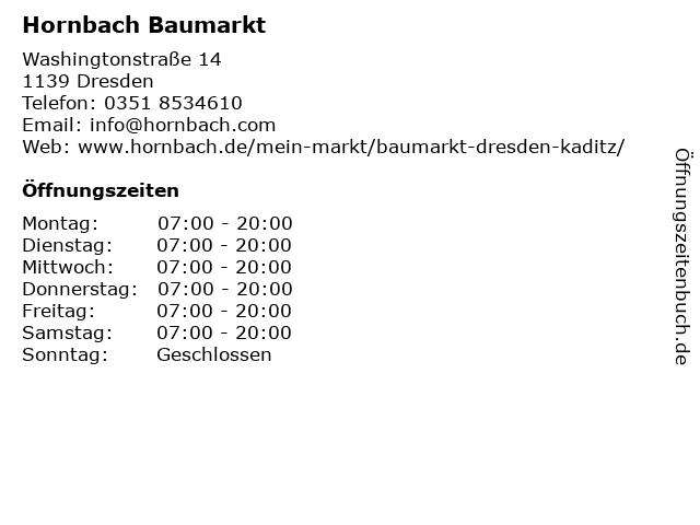 Hornbach Baumarkt in Dresden: Adresse und Öffnungszeiten