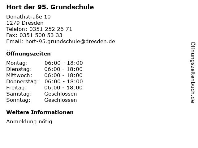 ᐅ öffnungszeiten Hort Der 95 Grundschule Donathstraße 10 In