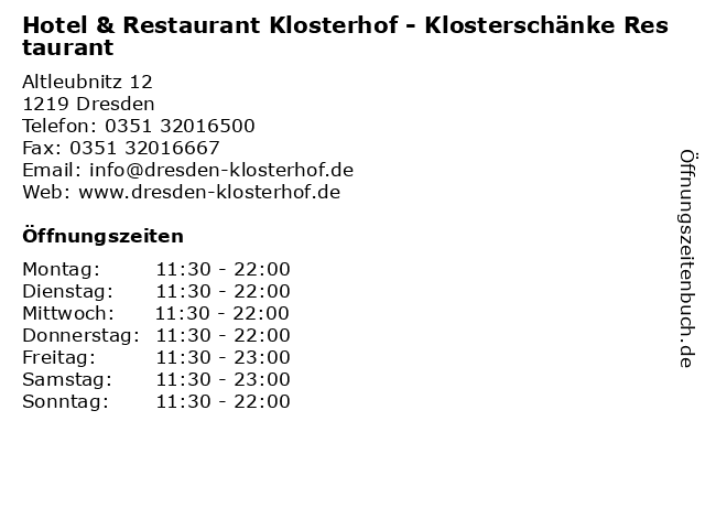 ᐅ Offnungszeiten Hotel Restaurant Klosterhof Klosterschanke