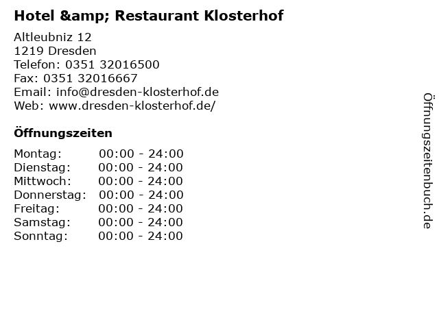 ᐅ Offnungszeiten Hotel Restaurant Klosterhof Altleubniz 12 In