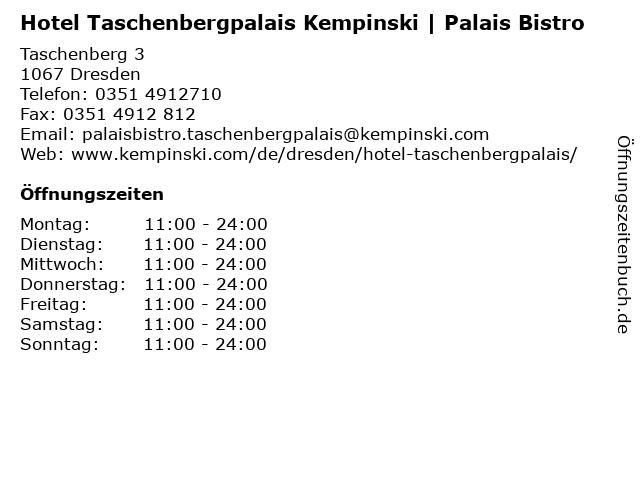 Hotel Taschenbergpalais Kempinski | Palais Bistro in Dresden: Adresse und Öffnungszeiten