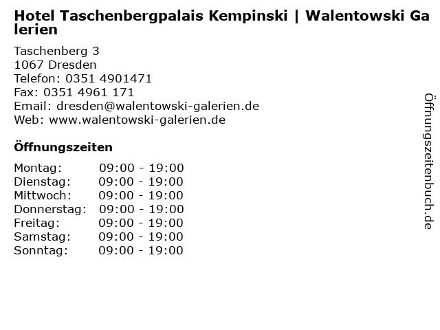 Hotel Taschenbergpalais Kempinski   Walentowski Galerien in Dresden: Adresse und Öffnungszeiten