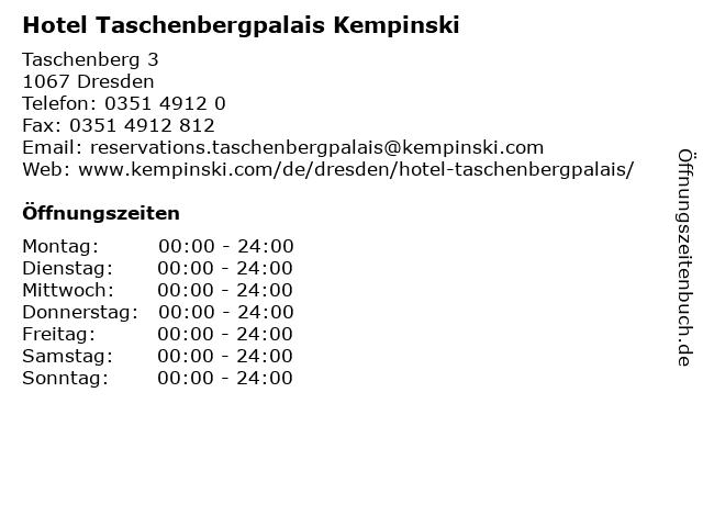 Hotel Taschenbergpalais Kempinski in Dresden: Adresse und Öffnungszeiten