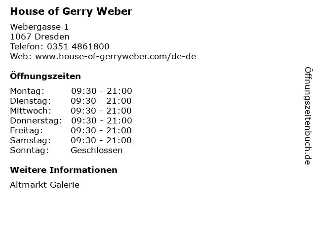House of Gerry Weber in Dresden: Adresse und Öffnungszeiten