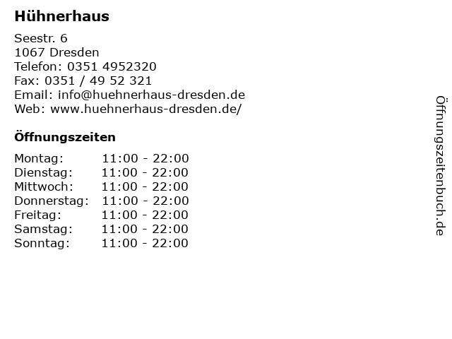 Hühnerhaus in Dresden: Adresse und Öffnungszeiten