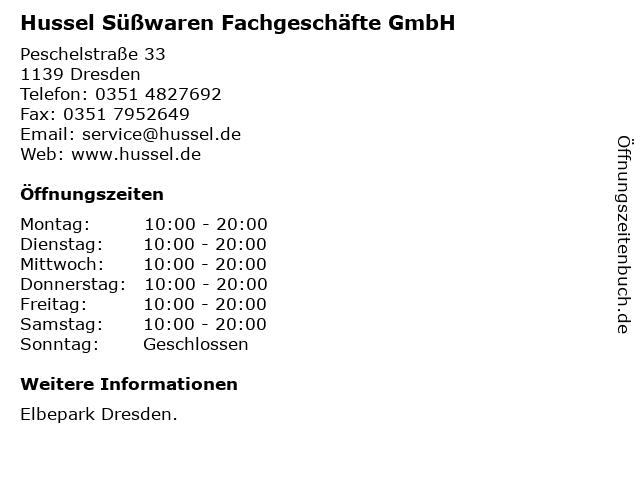 Hussel Süßwaren Fachgeschäfte GmbH in Dresden: Adresse und Öffnungszeiten
