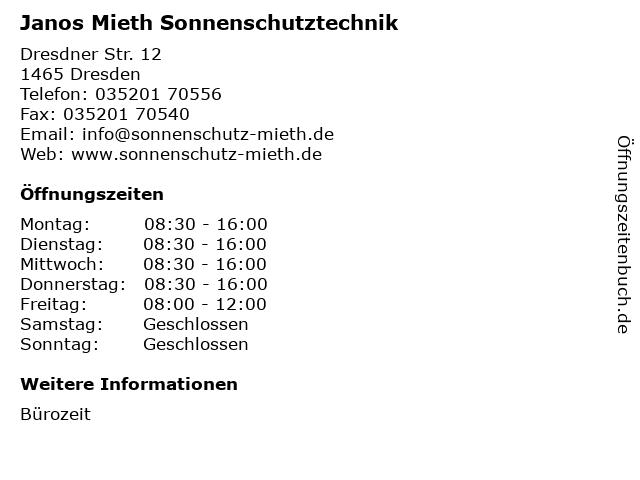 Janos Mieth Sonnenschutztechnik in Dresden: Adresse und Öffnungszeiten
