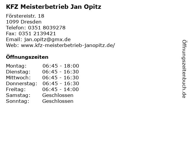 KFZ Meisterbetrieb Jan Opitz in Dresden: Adresse und Öffnungszeiten