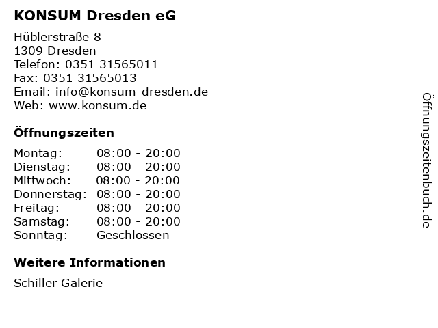 KONSUM Dresden eG in Dresden: Adresse und Öffnungszeiten