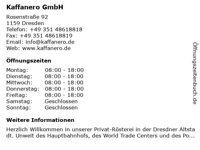 Kaffanero GmbH in Dresden: Adresse und Öffnungszeiten