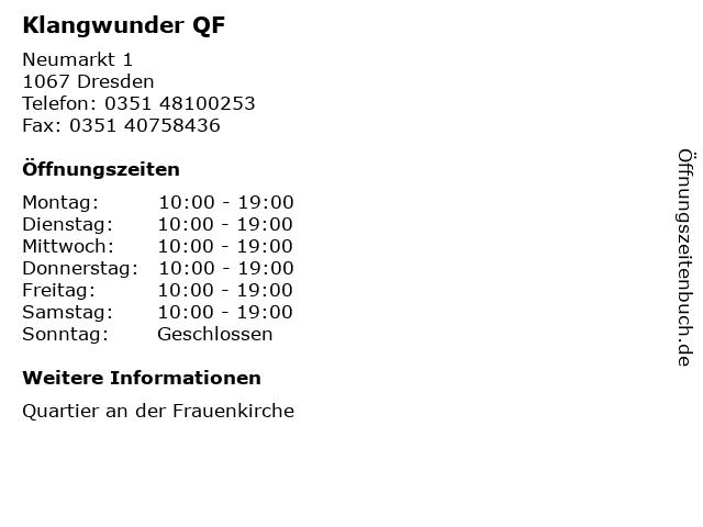 Klangwunder QF in Dresden: Adresse und Öffnungszeiten