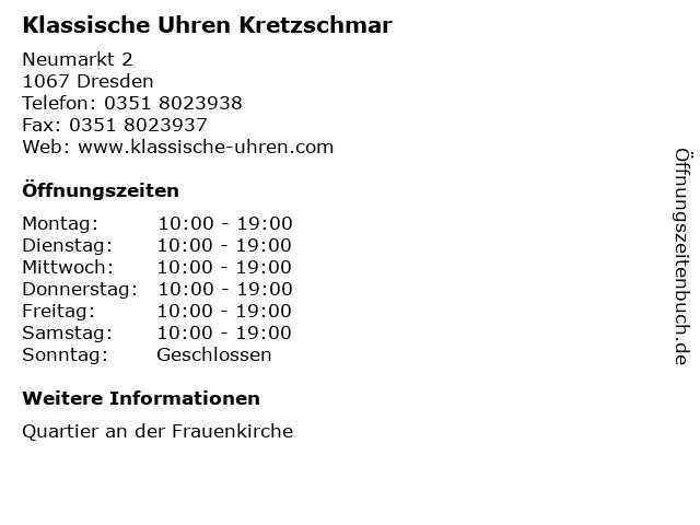 Klassische Uhren Kretzschmar in Dresden: Adresse und Öffnungszeiten