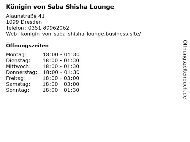 Königin von Saba Shisha Lounge in Dresden: Adresse und Öffnungszeiten
