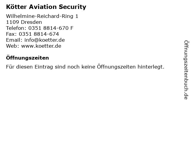 Kötter Aviation Security in Dresden: Adresse und Öffnungszeiten