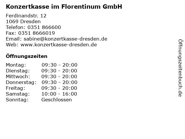 Konzertkasse im Florentinum GmbH in Dresden: Adresse und Öffnungszeiten