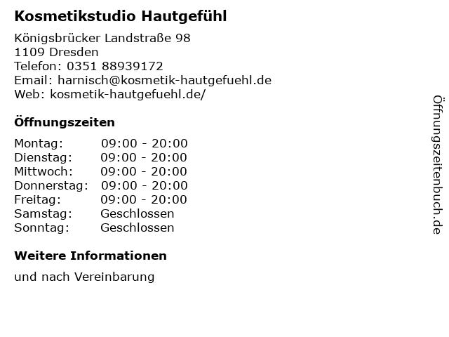 Kosmetikstudio Hautgefühl in Dresden: Adresse und Öffnungszeiten