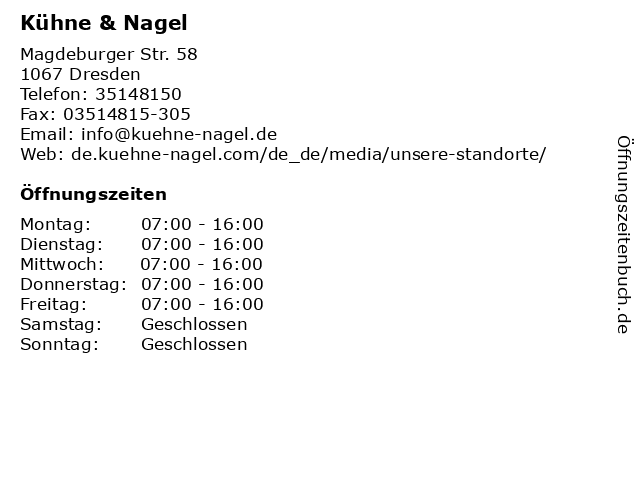 Kühne & Nagel in Dresden: Adresse und Öffnungszeiten