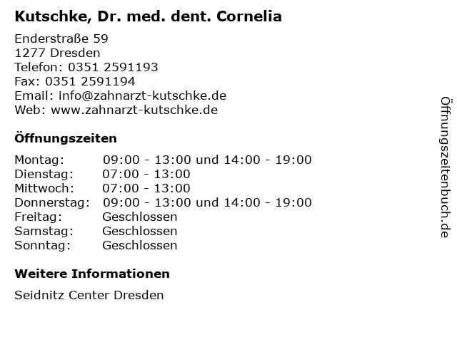 Kutschke, Dr. med. dent. Cornelia in Dresden: Adresse und Öffnungszeiten