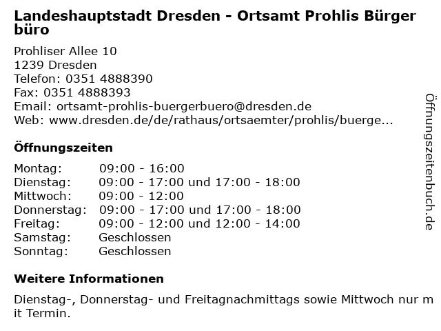 Landeshauptstadt Dresden - Ortsamt Prohlis Bürgerbüro in Dresden: Adresse und Öffnungszeiten