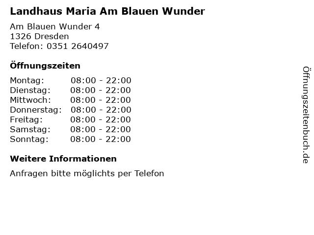 Landhaus Maria Am Blauen Wunder in Dresden: Adresse und Öffnungszeiten