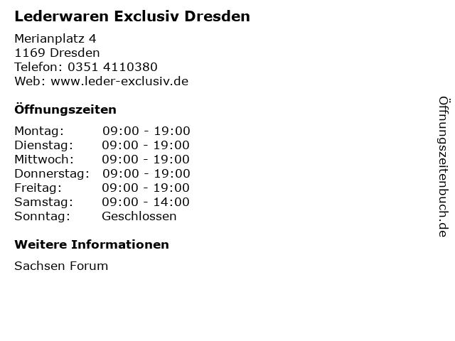 Lederwaren Exclusiv Dresden in Dresden: Adresse und Öffnungszeiten