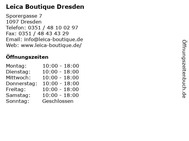 Leica Boutique Dresden in Dresden: Adresse und Öffnungszeiten