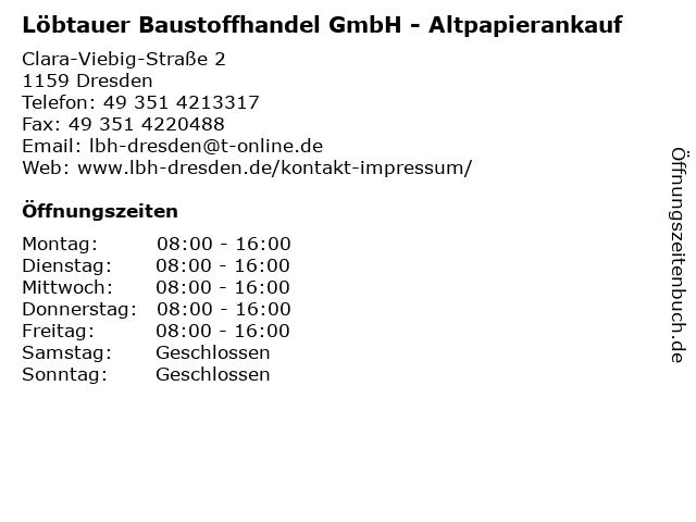Löbtauer Baustoffhandel GmbH - Altpapierankauf in Dresden: Adresse und Öffnungszeiten