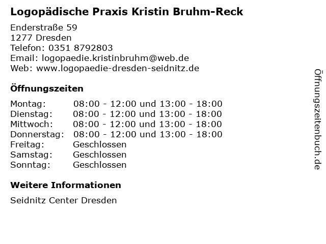 Logopädische Praxis Kristin Bruhm-Reck in Dresden: Adresse und Öffnungszeiten