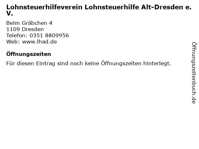 Lohnsteuerhilfeverein Lohnsteuerhilfe Alt-Dresden e.V. in Dresden: Adresse und Öffnungszeiten