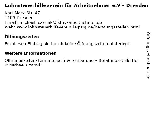 Lohnsteuerhilfeverein für Arbeitnehmer e.V - Dresden in Dresden: Adresse und Öffnungszeiten
