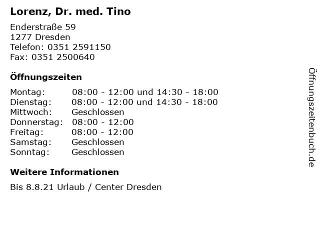 Lorenz, Dr. med. Tino in Dresden: Adresse und Öffnungszeiten