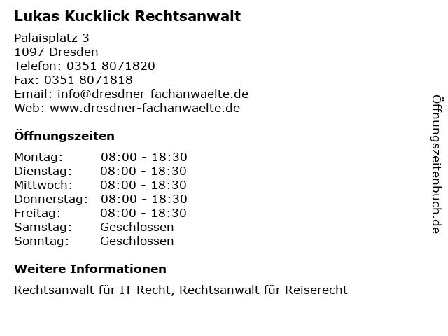 Lukas Kucklick Rechtsanwalt in Dresden: Adresse und Öffnungszeiten