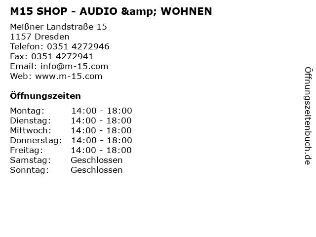 M15 SHOP - AUDIO & WOHNEN in Dresden: Adresse und Öffnungszeiten