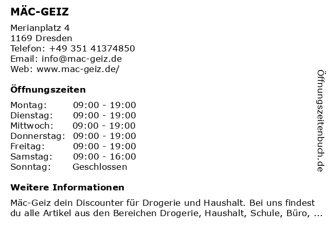 Mäc-Geiz in Dresden: Adresse und Öffnungszeiten