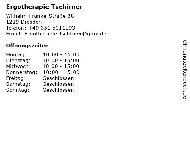 Marie-Luise Tschirner Ergotherapie in Dresden: Adresse und Öffnungszeiten