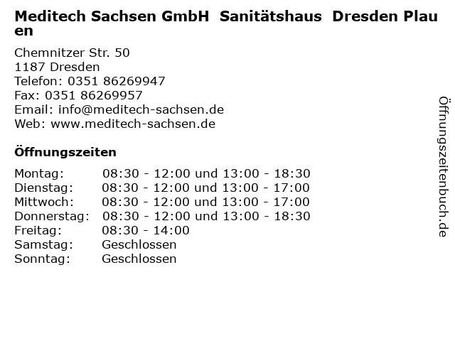Meditech Sachsen GmbH  Sanitätshaus  Dresden Plauen in Dresden: Adresse und Öffnungszeiten