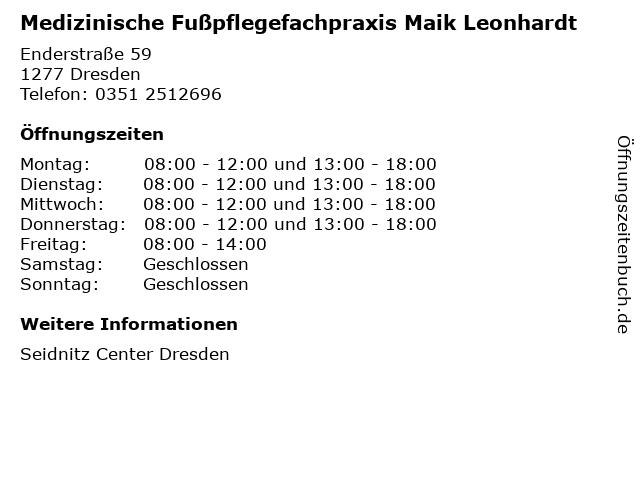 Medizinische Fußpflegefachpraxis Maik Leonhardt in Dresden: Adresse und Öffnungszeiten