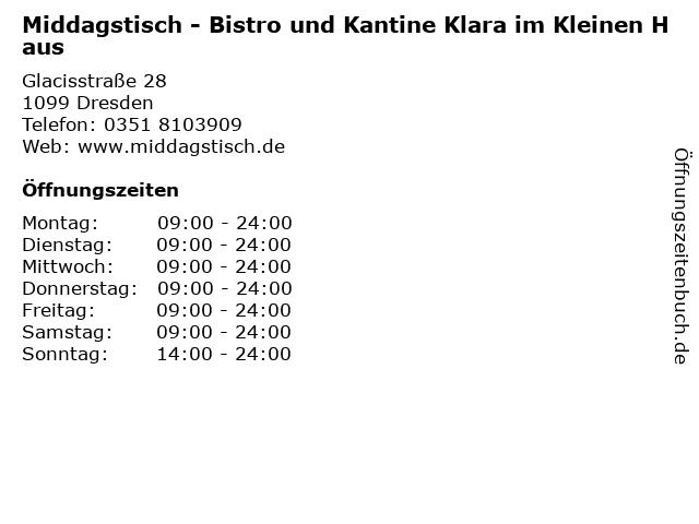 Middagstisch - Bistro und Kantine Klara im Kleinen Haus in Dresden: Adresse und Öffnungszeiten