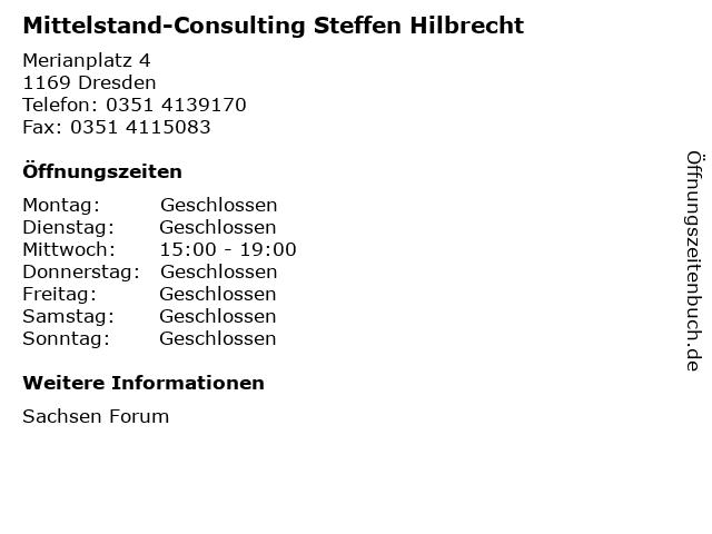 Mittelstand-Consulting Steffen Hilbrecht in Dresden: Adresse und Öffnungszeiten