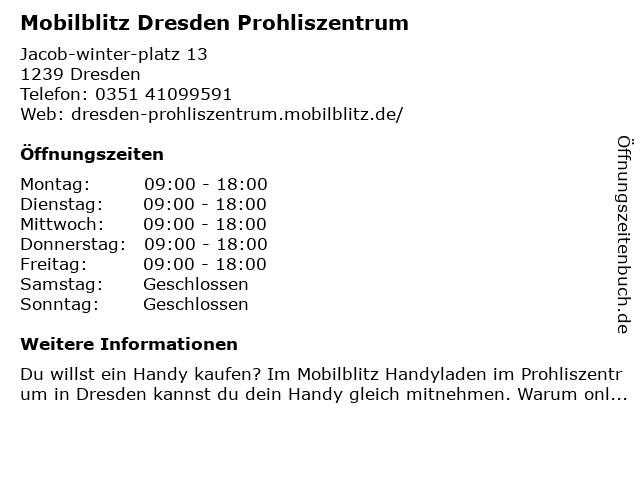 mobilblitz Filiale Prohlis Zentrum Dresden in Dresden: Adresse und Öffnungszeiten