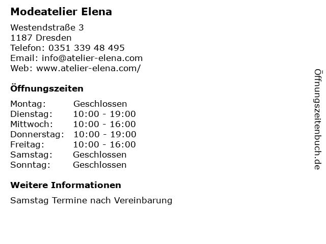 Modeatelier Elena in Dresden: Adresse und Öffnungszeiten