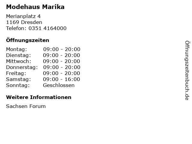 Modehaus Marika in Dresden: Adresse und Öffnungszeiten
