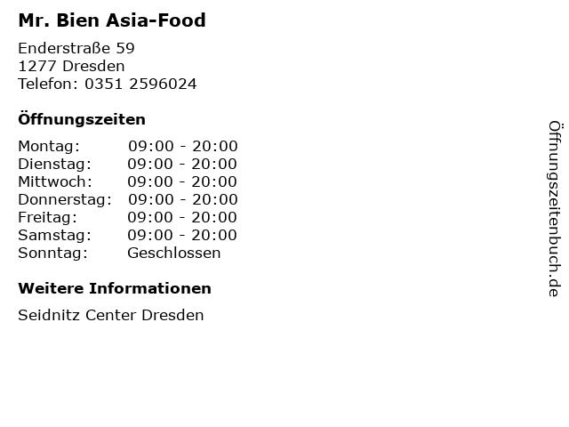 Mr. Bien Asia-Food in Dresden: Adresse und Öffnungszeiten