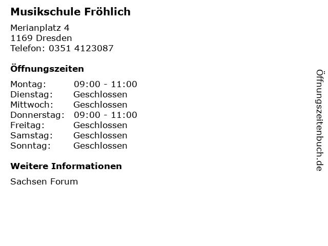 Musikschule Fröhlich in Dresden: Adresse und Öffnungszeiten