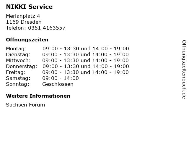 NIKKI Service in Dresden: Adresse und Öffnungszeiten